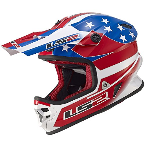 LS2 Helmets Light Us Flag Off-Road MX Motorcycle Helmet (Red/White/Blue, X-Large) (V1 Red Flag)