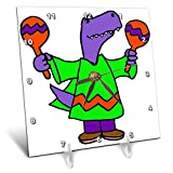3dRose All Smiles Art - Music - Cute Funny T-rex Dinosaur Shaking Maracas Cartoon - 6x6 Desk Clock (dc_293161_1)