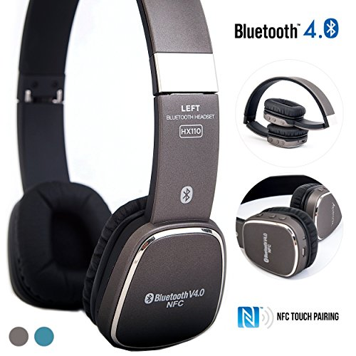 Alpatronix HX110 On-Ear Wireless Bluetooth Headphones & High Performance BT 4.0 Headset with NFC, Mic & Universal Lightweight Noise Isolation Earphones for Smartphones, Computers & Tablets - Grey