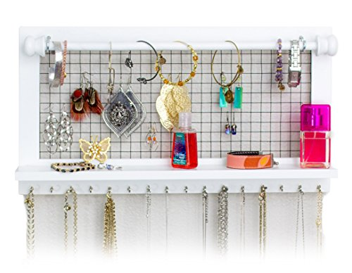 White Jewelry Organizer with Removable Bracelet Rod from SoCal Buttercup - Wooden Wall Mounted Holder for Earrings Necklaces Bracelets and other Accessories