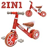ChromeWheels 2 in 1 Balance Bike Toddler Trike for 2-4 Years Old Kids, 3-Wheels with Detachable Pedal, Best Gifts Riding Toys for Girls Boys
