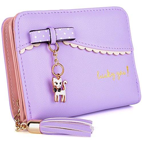 UTO Wallet for Women Cute Kitty Bowknot PU Leather Card Holder Organizer Girls Small Coin Purse with Tassel Zipper Light Purple