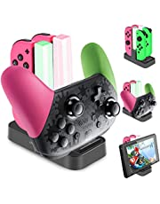 Joycon Charging Dock, [Upgraded Version] Diyife Switch Controller Charger, Switch Charging Dock, Controller Charger for Nintendo Switch, 5 in 1 Joy con Charger with LED Indicator Type C Cable