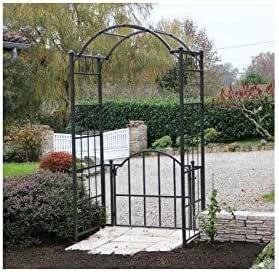 Arca Portillo Classic Garden Portal arco para rosal de jardín de hierro forjado marrón martillado o gris antracita 71 x 120 x 228 cm – gris antracita: Amazon.es: Jardín
