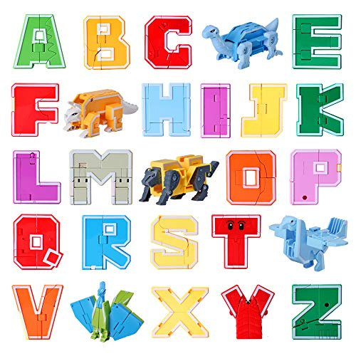 WELINK 26 PCS Alphabet Transformer Robots Action Figure Preschool Educational ABC Letter Robot Transformers Toy for Kids Children Infants A-Z
