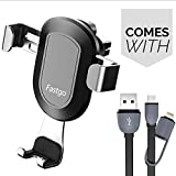 Fastgo Car Vent Phone Holder with 2-in-1 Lightning and Micro USB Cable, Ac Vent Cell Phone Car Mounts Bracket Holder for Iphone X/8/7/7P/6S/6P/5S Galaxy LG Huawei Other Smartphones