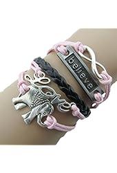 Pooqdo (TM) Fashion Retro Infinity Elephant Love Charm Leather Pink Rope Bracelet Decoration Tools