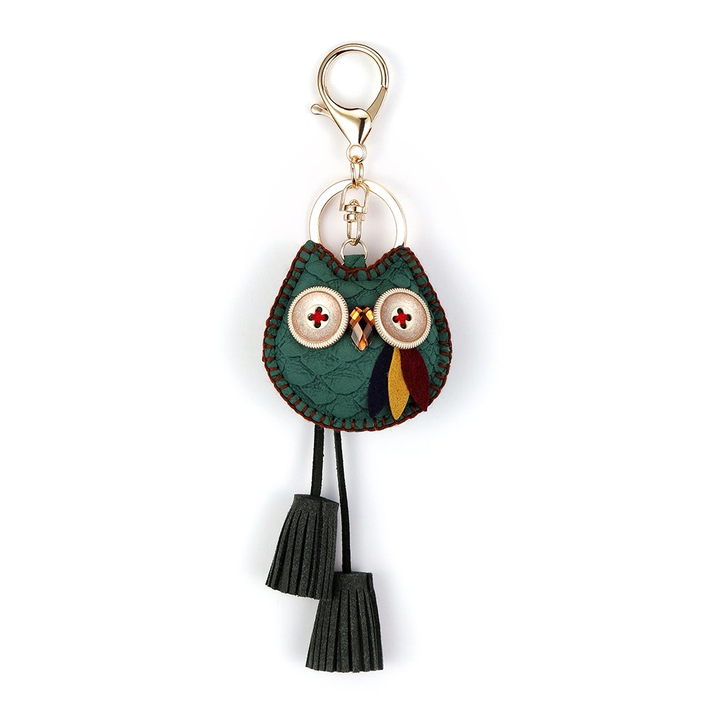 Owl Key Ring Chain, Nikang Handmade Leather Key Holder with Tassels, Green
