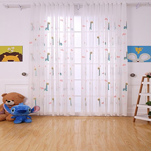 Suppromo 3D Embroidered Sheer Tulle Curtains for Kid's Bedroom/Living Room W 51 inch×H65 inch Tulle Sheer Window Panel Curtains With Grommet