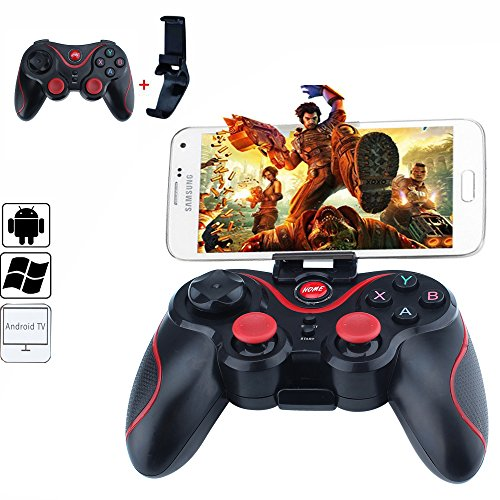 HappyCell Bluetooth Gamepad Game Controller for Android TV BOX Tablet Windows PC Game T3 + Joystick with Free Phone Holder (Android Box Joystick)