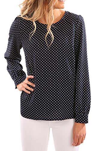 Coutgo Woman's Sexy Long Sleeve Dots Print Back Zipper Blouse Shirts Tops (S, Black) (Dot Zipper)