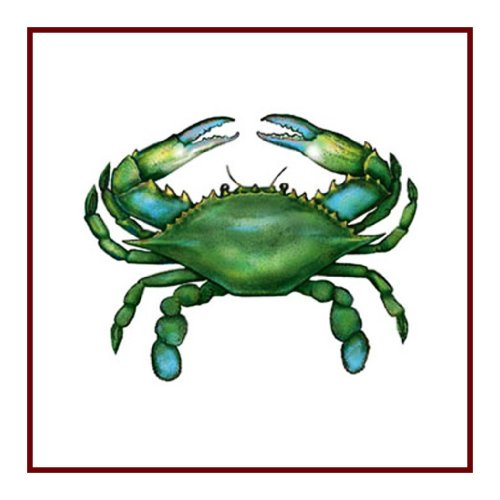 Nautical Seashore Green Blue Crab Counted Cross Stitch - Crab Needlepoint