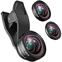 iPhone Camera Lens Kit, Professional 0.65X Wide Angle Lens + 15X Macro Lens (Attached Together), Clip-On 2 in 1 Cell Phone Lens for iPhone x 8 7 6s plus 5 & Samsung Galaxy Note & Smartphones