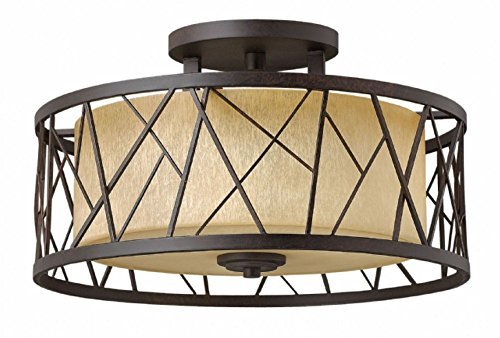 Hinkley FR41622ORB Nest - Three Light Semi-Flush Mount, Oil Rubbed Bronze Finish with Distressed Amber Etched Glass ()