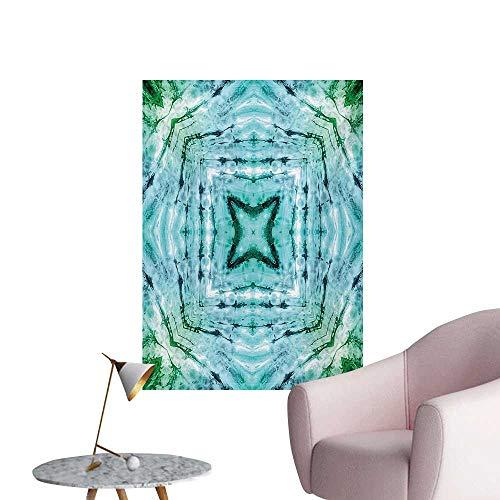 Anzhutwelve Kaleidoscope Wallpaper Star Inside Square Shaped Kaleidoscope Tie Dye Motive with Outer Figures ImageTeal Blue W32 xL48 Poster ()