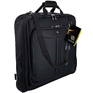 Zegur Funda para ropa para 3 trajes o vestidos ideal como equipaje de mano – Maletín de viaje de ocio o de negocios de 1 m – Bolsa con compartimentos y con correa para el hombro ajustable – Negro