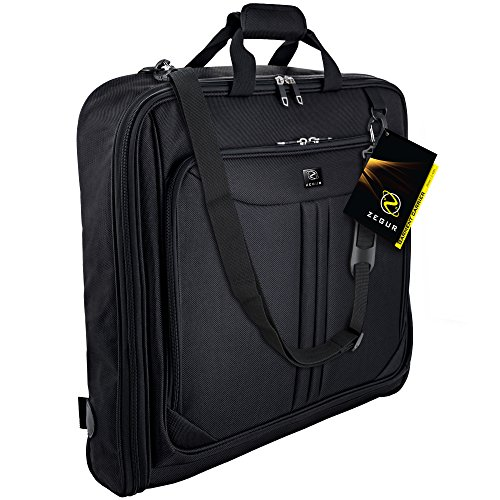 Bi Fold Garment Bag (ZEGUR 40-Inch 3 Suit Carry On Garment Bag for Travel or Business Trips - Features an Adjustable Shoulder Strap and Multiple Organization Pockets - Black)