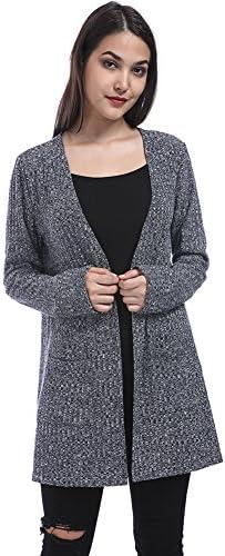 [Patrocinado] Fancyqube Casual Manga Larga Frente Abierto De La Mujer Knit chaqueta de punto Sweater
