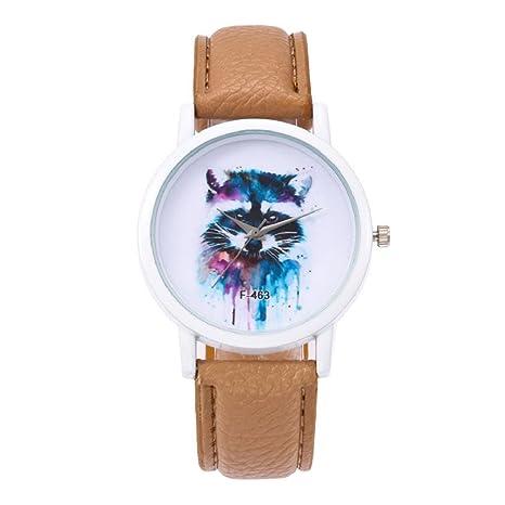 Amazon.com: Hosamtel Reloj de cuarzo unisex, correa de piel ...