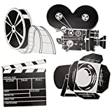 Beistle 55722 4-Pack Packaged Movie Set Cutouts, 16-Inch