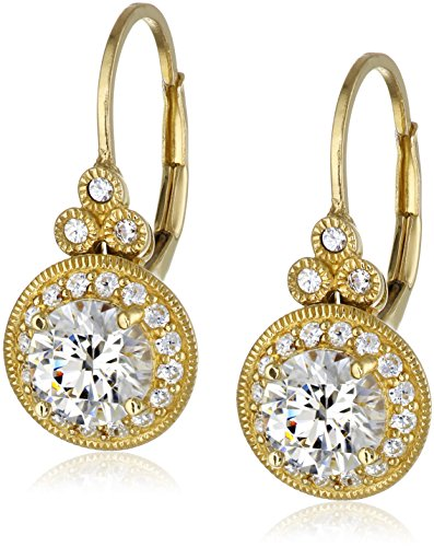 Yellow Gold Plated Sterling Silver Antique Drop Earrings set with Round Cut Swarovski Zirconia (3.5 cttw)