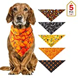 wawoo Halloween Dog Bandana - 5pcs Washable Dog Triangle Scarf Bibs - Halloween Skeleton, Witches, Pumpkin Patterned Neckerchief Costume Accessories for Small to Large Puppy, Kitten masterly