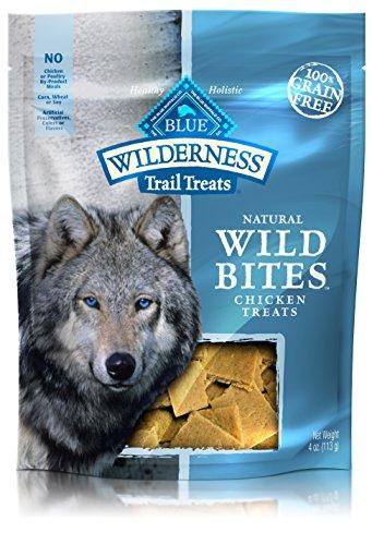 BLUE Wilderness Trail Treats Grain Free Wild Bites Chicken Recipe Dog Treats 4-oz