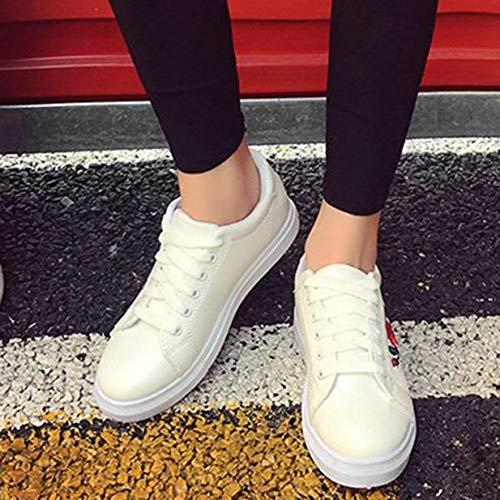 Basse Con Bianco Scarpe Pu 37 Ricamate Lacci Banbie8409 Donna Piatte Pelle scarpe In txP8qn0fzw