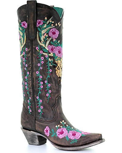 CORRAL Womens Deer Skull Overlay Floral Embroidered Cowgirl Boot Snip Toe - A3621 Brown ChppP