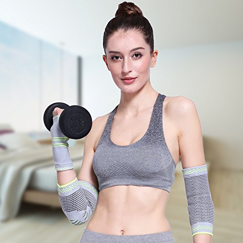 Elbow Brace Compression Sleeve with Gel Pads Support for Tendonitis, Tennis Elbow & Golf Elbow Treatment, Arthritis, Reduce Joint Pain During Any Activity for Women & Men by Velpeau (Large) by Velpeau (Image #4)