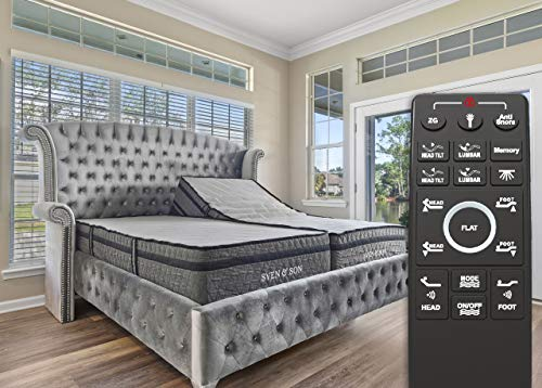 """Sven & Son Split King Adjustable Bed Base Frame (Individual Head Tilt & Lumbar) + 14"""" Hybrid Cool Gel Memory Foam Mattress and Adjustable Bed (Split King)"""