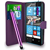 Nokia Lumia 520 - Premium Leather Wallet Flip Case Cover Pouch + Long Touch Stylus Pen + Mini Touch Stylus Pen + Screen Protector & Polishing Cloth (Wallet DarkPurple)