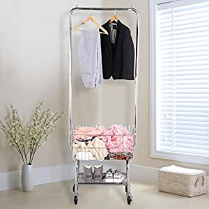 Yaheetech Commercial Laundry Cart Laundry Butler with Wheels & Double Pole Rack,Silver,G.W.: 21.3 Lb