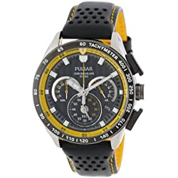 Pulsar Men's PU2007 Stainless Steel Watch with Black Leather Band