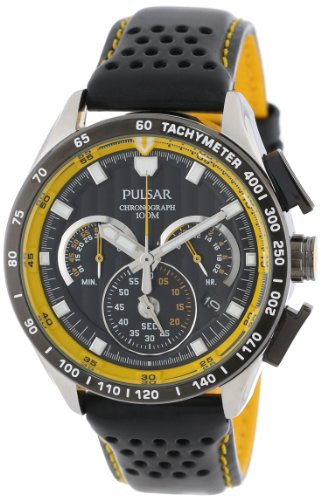 Pulsar Water Resistant Wrist Watch (Pulsar Men's PU2007 Stainless Steel Watch with Black Leather Band)