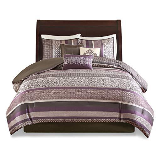 Madison Park Princeton 7 Piece Jacquard Comforter Set Purple/Brown Queen ()