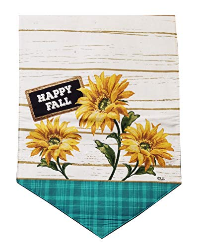 Nantucket Sunflowers Fall Table Runner for Dining, Kitchen, Coffee Table or Dresser 36 inches Long with Appliqued Glitter Flowers Cotton Fabric (Kitchen Nantucket Table)