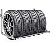 Best Choice Products Heavy Duty Steel Garage Wall Mount Folding Tire Wheel Storage Rack - Gray
