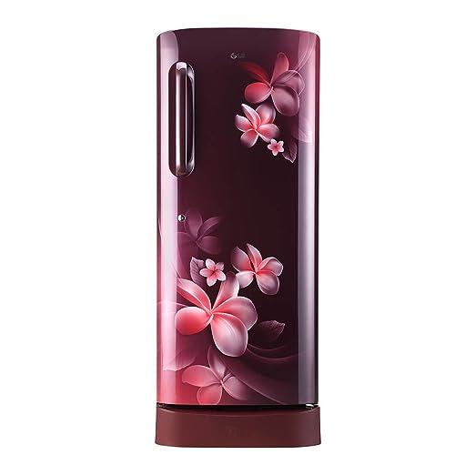 LG 235 L 5 Star Inverter Direct Cool Single Door Refrigerator (GL-D241ASPY, Scarlet Plumeria) Refrigerators at amazon