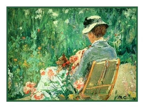 Lydia in the garden Dog by Mary Cassatt Counted Cross Stitch Pattern