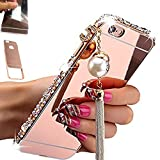 [1-Pack][2-IN-1]Samsung Galaxy S3, AMASELL Luxury Bling 3D Sparkle Diamond Mirror case+Aluminum Metal Frame Bumper With Pearl Tassels Hard PC Back Cover Case, Rose Gold with bling