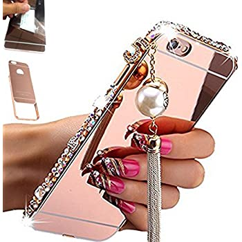 [2-IN-1][1-Pack]Samsung Galaxy S7 Edge, AMASELL Luxury bling 3D Sparkle Diamond Mirror case+Aluminum Metal Frame Bumper with Pearl Tassels Hard PC Back Cover Case, Rose Gold with bling