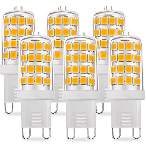 6-Pack G9 LED Bulb, 5W 450LM (40W-50W Halogen Bulb Equivalent), Not Dimmable, 3000K Warm White Light by KINDEEP