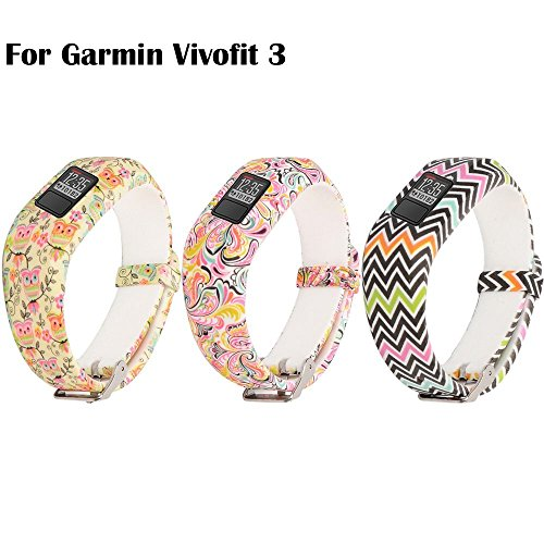 Garmin Vivofit 3 Buckle Bracelet - Adjustable Wristband and Wristwatch Style - Silicone Replacement Secure Band For Garmin Vivofit 3 (3PCS: Cute Owles&Colorful Waves&Tatoo Flowers) (Style Bracelet Wave)