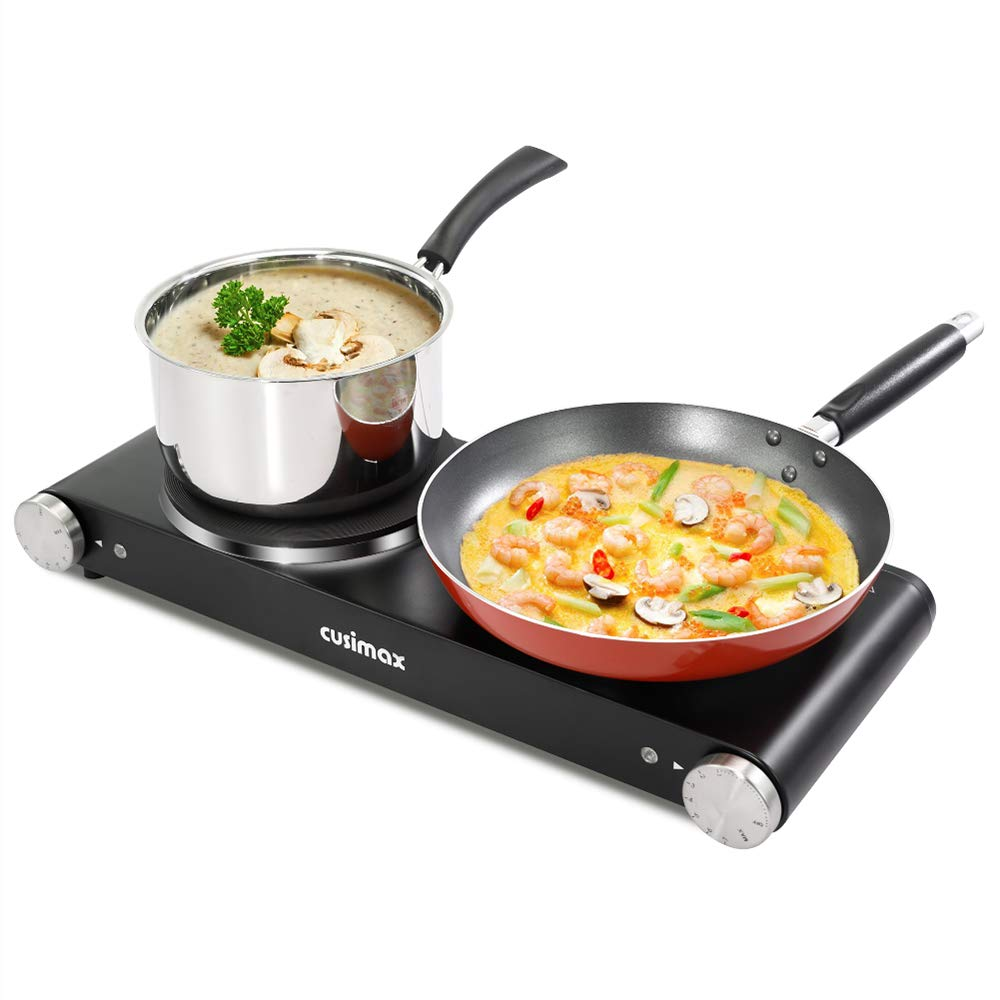 Cusimax Cast Iron Electric Hot Plate, 1800W Countertop Burner, Dual Electric Burner, Portabel Double Burner for Cooking