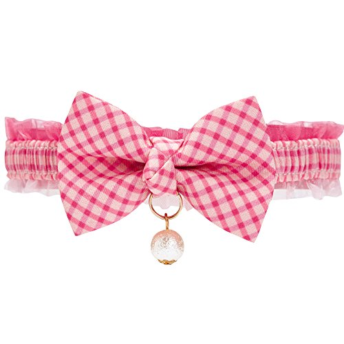 (Blueberry Pet 18 Designs Pink Plaid Breakaway Bowtie Cat Collar Lace Choker Necklace with Handmade Bow Tie and Pearl Charm, Safety Elastic Stretch Collar for Cats, Neck 8.5