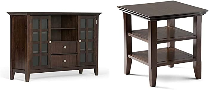 "Simpli Home Acadian Solid Wood Universal Tall TV Media Stand, 53"" Wide, Tobacco Brown & Acadian Solid Wood 19"" Wide Square Rustic Contemporary End Side Table in Tobacco Brown with Storage, 2 Shelves"