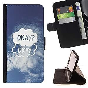 BullDog Case - FOR/Samsung Galaxy A3 / - / okay text cloud drawing funny sky blue /- Monedero de cuero de la PU Llevar cubierta de la caja con el ID Credit Card Slots Flip funda de cuer