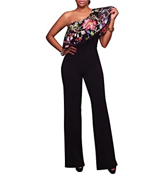 0d29a08a3f8c Amazon.com  Wancy Womens Sexy One Off Shoulder Ruffles High Waisted Wide  Leg Pants Jumpsuits Rompers  Clothing