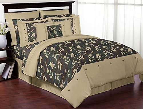 Green Camo Childrens and Teen 3 Piece Full / Queen Boys Bedding Set